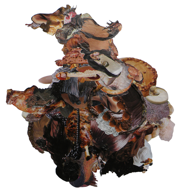 Flesh Cake | Found collage and acrylic on paper | 73 x 64 cm | 2009