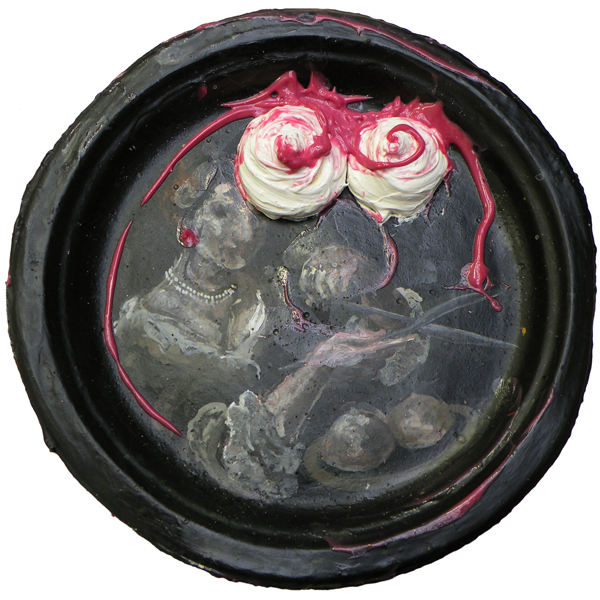 Have Your Cake And Eat It, Agatha | Acrylic on recycled paper plate [24 cm diameter]