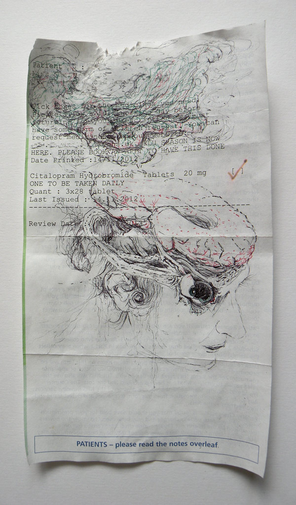PATIENTS - Please read the Notes Overleaf | 2013 | pen on paper | 17.5 x 10cm